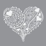 Ilustração floral abstrata do vetor do coração do teste padrão Imagens de Stock Royalty Free