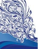 Ilustração floral azul Fotos de Stock