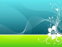Ilustração floral azul e verde do fundo ilustração stock