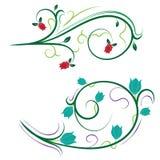 Ilustração floral bonita com redemoinhos Foto de Stock Royalty Free