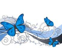 Ilustração floral com borboletas ilustração do vetor
