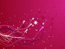 Ilustração floral cor-de-rosa do vetor de Swirly Currls Fotografia de Stock