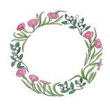 A ilustração floral da aquarela de flores cor-de-rosa envolve-se imagem de stock