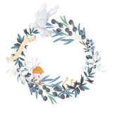 Ilustração floral da azeitona e da pomba - quadro/grinalda do ramo de oliveira para o casamento estacionário, cumprimentos, papéi ilustração royalty free