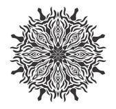 Ilustração floral da mandala preto e branco Fotos de Stock Royalty Free