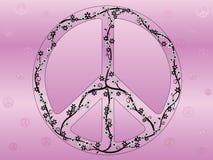 Ilustração floral do sinal de paz Fotos de Stock Royalty Free