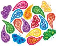 Ilustração floral e da borboleta de Paisley do teste padrão do vetor Fotografia de Stock Royalty Free