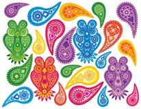 Ilustração floral e das corujas de Paisley do teste padrão do vetor Imagem de Stock Royalty Free