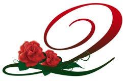 Ilustração floral vermelha da letra Q Imagem de Stock