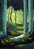Ilustração: A floresta completamente das memórias ilustração stock