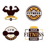 Ilustração forte do vetor da silhueta do equipamento do clube de esporte do gym do elemento do projeto do emblema da aptidão Fotografia de Stock Royalty Free