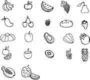 A ilustração frutifica 22 a linha arte preto e branco Fotos de Stock Royalty Free