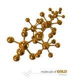 Ilustração, fundo branco isolado molécula do ouro Fotografia de Stock Royalty Free