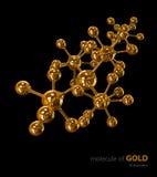 Ilustração, fundo preto isolado molécula do ouro Fotografia de Stock