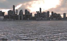 Ilustração futura da arquitetura da cidade 3D Fotos de Stock Royalty Free