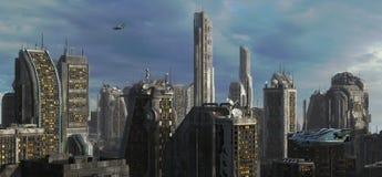 Ilustração futura da arquitetura da cidade 3D Foto de Stock