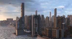 Ilustração futura da arquitetura da cidade 3D Imagem de Stock Royalty Free