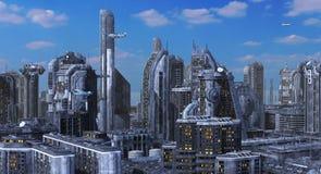 Ilustração futura da arquitetura da cidade 3D Imagens de Stock
