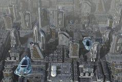 Ilustração futura da arquitetura da cidade 3D Foto de Stock Royalty Free