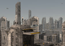 Ilustração futura da arquitetura da cidade 3D Imagens de Stock Royalty Free