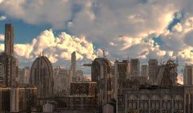 Ilustração futura da arquitetura da cidade 3D Fotografia de Stock Royalty Free