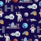 Ilustração futura do vetor da cidade do curso do turismo de espaço com fundo sem emenda do teste padrão do astronauta e da nave e Fotografia de Stock