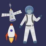 Ilustração futura do vetor de canela do foguete do cosmonauta do navio de espaço da exploração da nave espacial da aterrissagem d Imagens de Stock Royalty Free