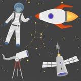 Ilustração futura do vetor de canela do foguete do cosmonauta do navio de espaço da exploração da nave espacial da aterrissagem d Fotos de Stock