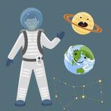 Ilustração futura do vetor do cosmonauta do navio de espaço da exploração do sistema solar da nave espacial dos planetas da aterr Foto de Stock Royalty Free