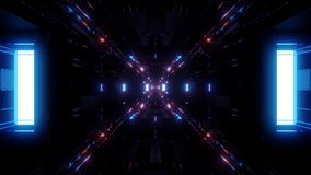 Ilustração futurista bonita 3d do fundo 3d do túnel do navio de espaço do scifi que rende dar laços sem emenda do motionbackgroun ilustração do vetor