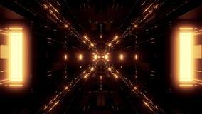 Ilustração futurista bonita 3d do fundo 3d do túnel do navio de espaço do scifi que rende dar laços sem emenda do motionbackgroun ilustração royalty free