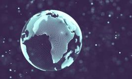 Ilustração futurista do sumário da tecnologia dos dados Baixa forma poli com pontos e linhas de conexão no fundo escuro 3d Foto de Stock Royalty Free