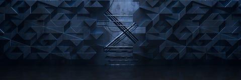 Ilustração futurista escura larga do fundo 3d da sala ilustração do vetor