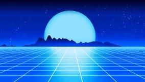 Ilustração futurista retro do estilo 3d dos anos 80 do fundo Foto de Stock Royalty Free