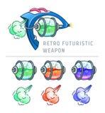 Ilustração futurista retro do vetor da arma Fotos de Stock Royalty Free
