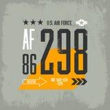 Ilustração gasto do emblema dos aviões do t-shirt Foto de Stock Royalty Free