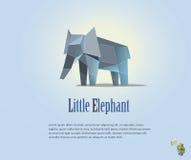 Ilustração geométrica do elefante do bebê no estilo poligonal baixo poli Ícone animal do triângulo Objeto moderno Imagens de Stock Royalty Free