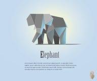 Ilustração geométrica do elefante no estilo poligonal baixo poli Ícone animal do triângulo Objeto moderno Fotos de Stock Royalty Free