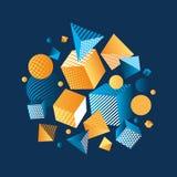 Ilustração geométrica do vetor da composição da cor 3d do conceito Fotos de Stock