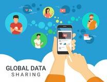 Ilustração global do conceito da partilha de dados ilustração royalty free