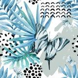 Ilustração gráfica da aquarela: borboleta exótica, folhas tropicais, elementos da garatuja no fundo do grunge ilustração royalty free