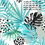 Ilustração gráfica da aquarela: folhas tropicais, elementos da garatuja no fundo do grunge ilustração royalty free
