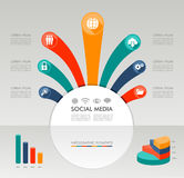 Ilustração gráfica dos elementos do molde social de Infographic dos meios. ilustração royalty free