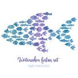 Ilustração grande do mosaico dos peixes da aquarela ilustração stock
