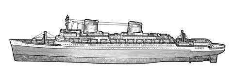 Ilustração grande do navio, desenho, gravura, tinta, linha arte, vetor ilustração royalty free