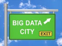 Ilustração grande do sinal 3d de City Road dos dados Imagem de Stock
