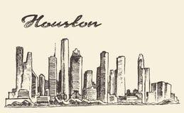 Ilustração grande do vetor da cidade da skyline de Houston tirada ilustração stock