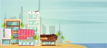 Ilustração grande do vetor da praia do oceano da cidade, construções altas do arranha-céus da cidade dos desenhos animados lisos  foto de stock royalty free