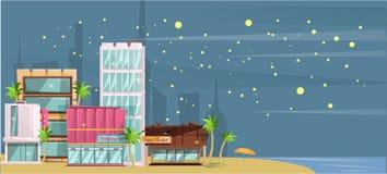 Ilustração grande do vetor da praia do oceano da cidade, construções altas do arranha-céus da cidade dos desenhos animados lisos  imagens de stock