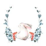 Ilustração, grinalda com coelho da aquarela, ramos verdes e bagas vermelhas Fotografia de Stock